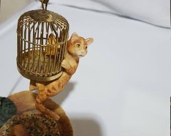 """Lowell Davis Sculpture, """"Oh Sheeeit!"""", Schmid Border Fine Arts, Ginger Cat"""