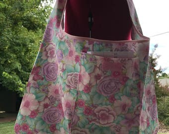 Med-Large Folding Bag, Market Bag, Unlined Shopping Bag, Fold-up Project Bag, Lightweight Carryall Bag, Pink Floral