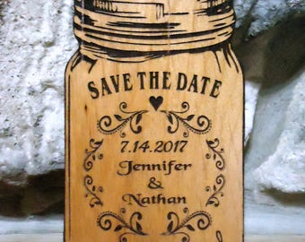 Save The Date Mason Jar, Magnet, Wedding Save the Date Magnet, Wood Save the Date Refrigerator Magnet, Special Event Save the Date