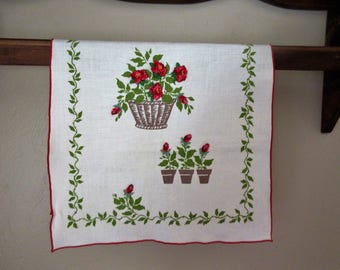 Vintage Tea Towel With Appliqued Roses