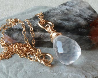 Ice Quartz Pendant Necklace, Goldfilled wire wrap, crystal clear gemstone charm, petite pendant, April birthstone, holiday gift for her,4477