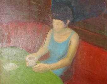 vintage modern oil painting woman drinking tea in cafe