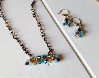 Teal & Orange Crystal Woven Jewelry Set- Antique Brights