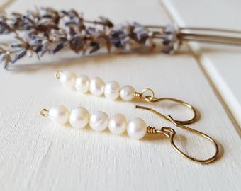 Evelyn - Wire Wrapped Cream Pearl Earrings, Stick Earrings, Ready to Ship