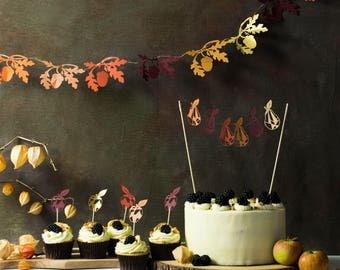 Oak and Acorn Autumn Garland - Oak Mantle Garland - Fall Garland - Paper Leaves Thanksgiving Garland - Rustic Wedding - Woodland Wedding