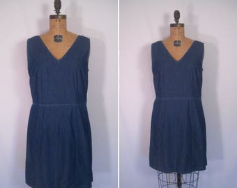1970s denim sundress • 70s blue chambray minimalist summer dress • vintage easy does it dress