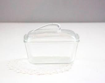 Retro Style Clear Glass Glasbake Casserole Dish 1 1/2 Quart J-805-7, loaf pan, Lidded Glass Bake Pan