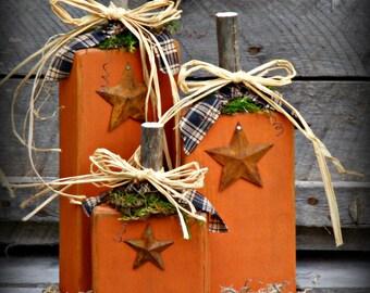 Primitive Wooden Pumpkins ~ Primitive Fall ~ Rustic Fall ~ Fall Decor ~ Autumn Decor ~ Rustic Pumpkins ~ Wood Pumpkins ~ Primitive Decor