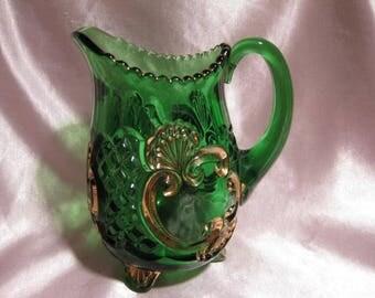 Emerald Green/gold Croesus Individual Creamer