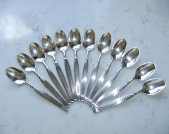 Vintage set of twelve silver plated coffee spoons - Savoy - Frigast Denmark - Henning Seidelin design