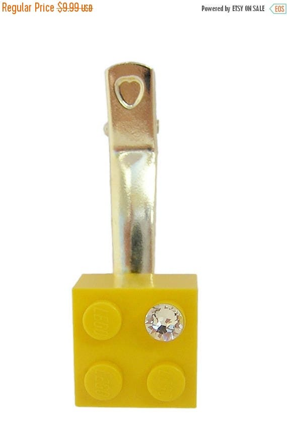 ON SALE Yellow LEGO (R) brick 2x2 with a Diamond color Swarovski crystal on a Silver/Gold plated hair clip (one piece)