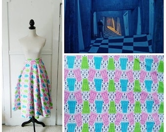 20% OFF / Hall of Rooms 1950s White/Pink/Aqua/Lime Green/Navy Blue Door/Fleur de Lis Novelty Print Circle Skirt/Beetlejuice Vibes