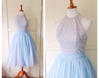 20% OFF / Dreamland 1950s Baby Blue and Purple Nylon/Tulle Halter Party/Prom Dress with Iridescent Sequin Detail