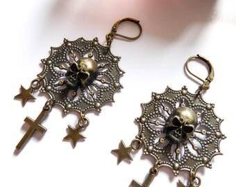 "Chrome Hearts ""Shiny Skull"" Baby Angel bronze earrings"