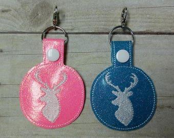 Deer Head Silhouette Keychain - Buck Snaptab - Deer Silhouette Luggage Tag - Buck Head Silhouette Zipper Pull