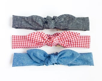 Headbands for women knot bow black linen denim chambray black linen-womens head band-hair accessories-fabric headband-kawaii-love factory ny
