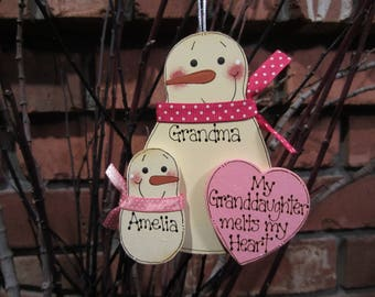 My Granddaughter Melts My Heart ~ Personalized Snowman Ornament