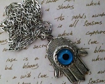 Necklace Handmade Hamsa Evil Eye Blue Silver Long Chain Pendant Exotic Tribal Ethnic Boho Hand of Miriam