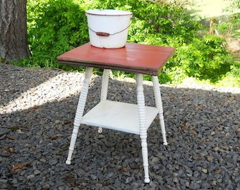 Primitive Victorian Rustic Cabin Garden Painted Red White Accent Table French Country Beach Cottage Table Vintage Antique Cafe Bistro