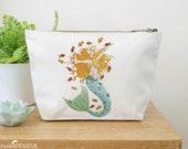 Mermaid Canvas Wash Bag, Large Zipper Pouch, Makeup Bag, Toiletry Bag, Accessory Bag, Mermaid Gift