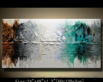 Abstract Wall Painting, expressionism Textured Painting,Impasto Landscape Painting  ,Palette Knife Painting on Canvas by Chen 0712