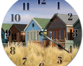 """10.5"""" COLORFUL HOUSES Clock - Living Room Clock - Large 10.5"""" Wall Clock - Home Décor Clock - 5145"""
