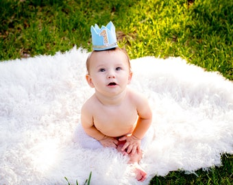 Baby Blue and Silver Mini Birthday Crown, Cake Smash, Birthday Crown, Mini Party Crown, Any Birthday number, Prince Birthday, Birthday hat