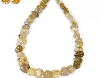 15 inch strand of Rutilated Quartz nugget beads 7-12x8-14mm