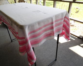 "Vintage White Cotton TABLELOTH with Pink & Green Accent Stripes 68"" x 52"""