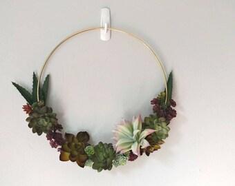 Artificial succulent wreath. Modern hoop wreath. Succulent wreath. Succulent decor. All year wreath.  Succulent wall hanging. Faux succulent
