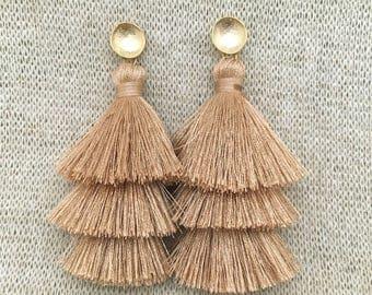 Grace Drop Earrings, Beige Tassel Earrings, Triple Tassel Statement Earrings Brushed Gold Connector,Bridal, Weddings, Holiday, Gifting