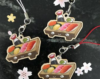 Wooden Sushi Set charms 1.5in
