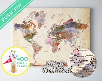 Canvas Push Pin World Map Terra Vintage Colors - Ready to Hang - High Detailed - 240 Pins + 198 World Flag Sticker Pack Included