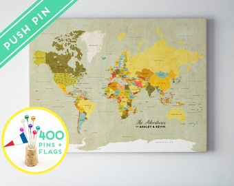 World map posters canvas frames and guest books by macanaz gifts for the couples custom large world map vintage canvas countries capitals gumiabroncs Gallery