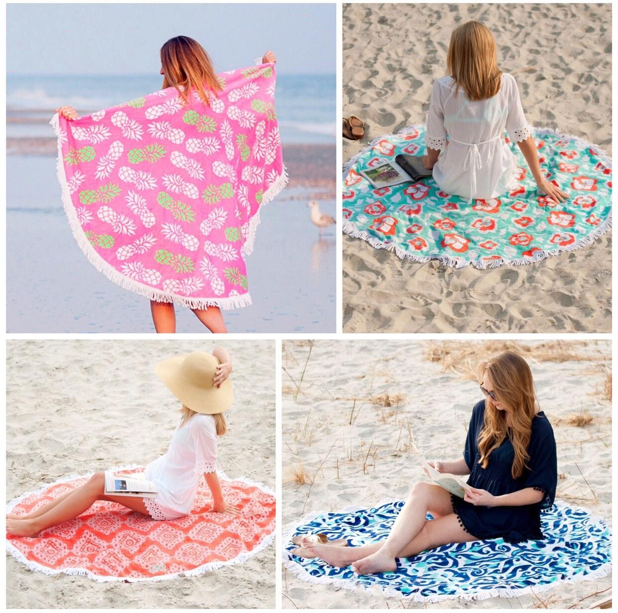Monogrammed Sand Circle, Round Beach Towel, Circle Beach