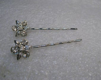 Pair of Rhinestone Hair Pins/Clips - Weddings, Proms, Leaf Accents