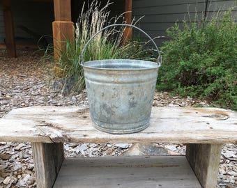 Vintage Metal Bucket, Galvanized, Rustic, Primitive, Gardening and Tools, Home Decor, Vintage Pail, Water Bucket, Garden Bucket, Supplies