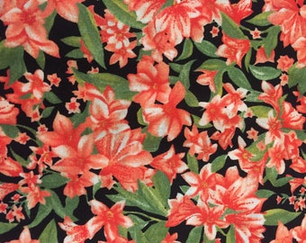 Cotton Quilting Fabric, Red Floral Print