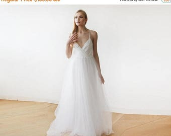 25% OFF Ivory straps wrap tulle maxi dress, Fairy tulle wedding gown, Affordable wedding gown 1053