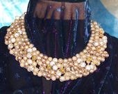 Beige and Ivory, Gold and Glass Beads  Twisted in an elegant choker collar