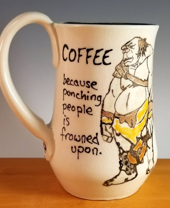 Coffee, because punching people is frowned upon, Troll Mug