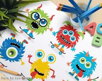 Monster Skaters Clipart, Skateboards, boy monsters, monster party, blue, monster birthday, commercial use, vector clipart, SVG cut files