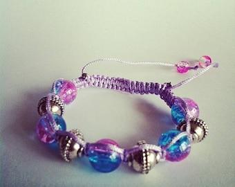 Adjustable Shamballa bracelet pink and blue Crackle glass beads