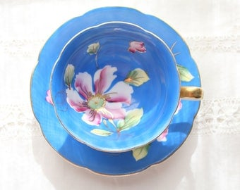 TEA CUP, Vintage Handpainted Tea Cup and Saucer by Occupied Japan, Merit Pattern, Azure Blue, Replacement China - ca. 1947 - 1952