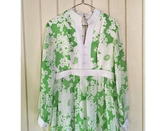 BRIGHT KELLY GREEN 1960's Floor Length Floral Dress. Long Sleeves. Size M/L