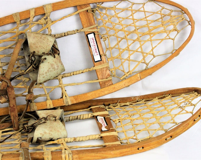 "Vintage Pair of 55"" Wood Canadian Spacecraft Snowshoes 10 x 55"