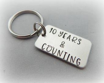 10 YEARS & COUNTING - Hand Stamped Anniversary Keychain - Boyfriend Gift - Anniversary - Valentine's Day - Husband - Wife - kg3678