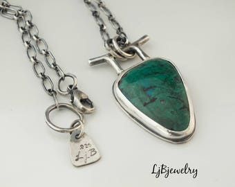 Silver Chrysocolla Pendant, Silver Necklace, Chrysocolla, Metalwork, Metalsmith, Silver Jewelry, Artisan Jewelry, Handmade,  Necklace