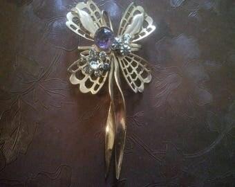 Vintage Rhinestone Pin - Vintage Pin - Vintage Lapel Pin - Pin - Amethyst and Rhinestone Pin - Vintage Jewelry