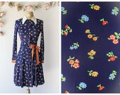 Vintage 1970s Navy Blue Wrap Dress with Floral Print - Cute Secretary Dress by Sue Brett - Size Small